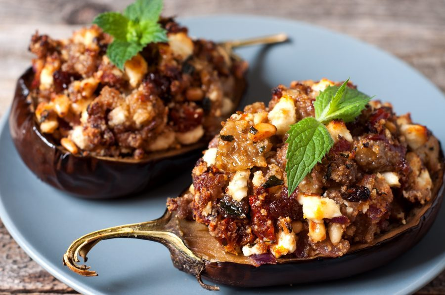 Mediterranean Stuffed Eggplant with Lamb